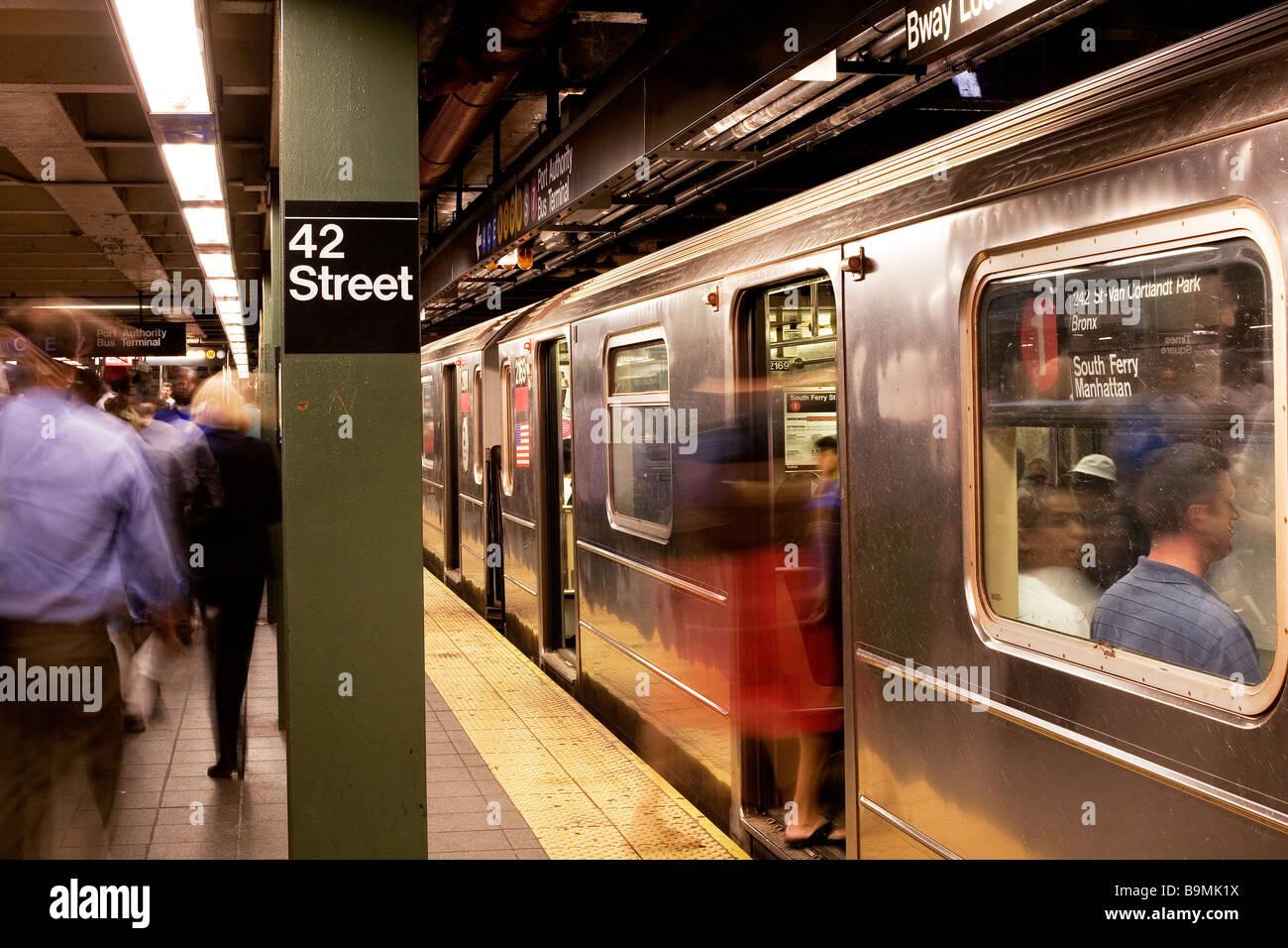 United States, New York City, Manhattan, subway on the 42nd street - Stock Image