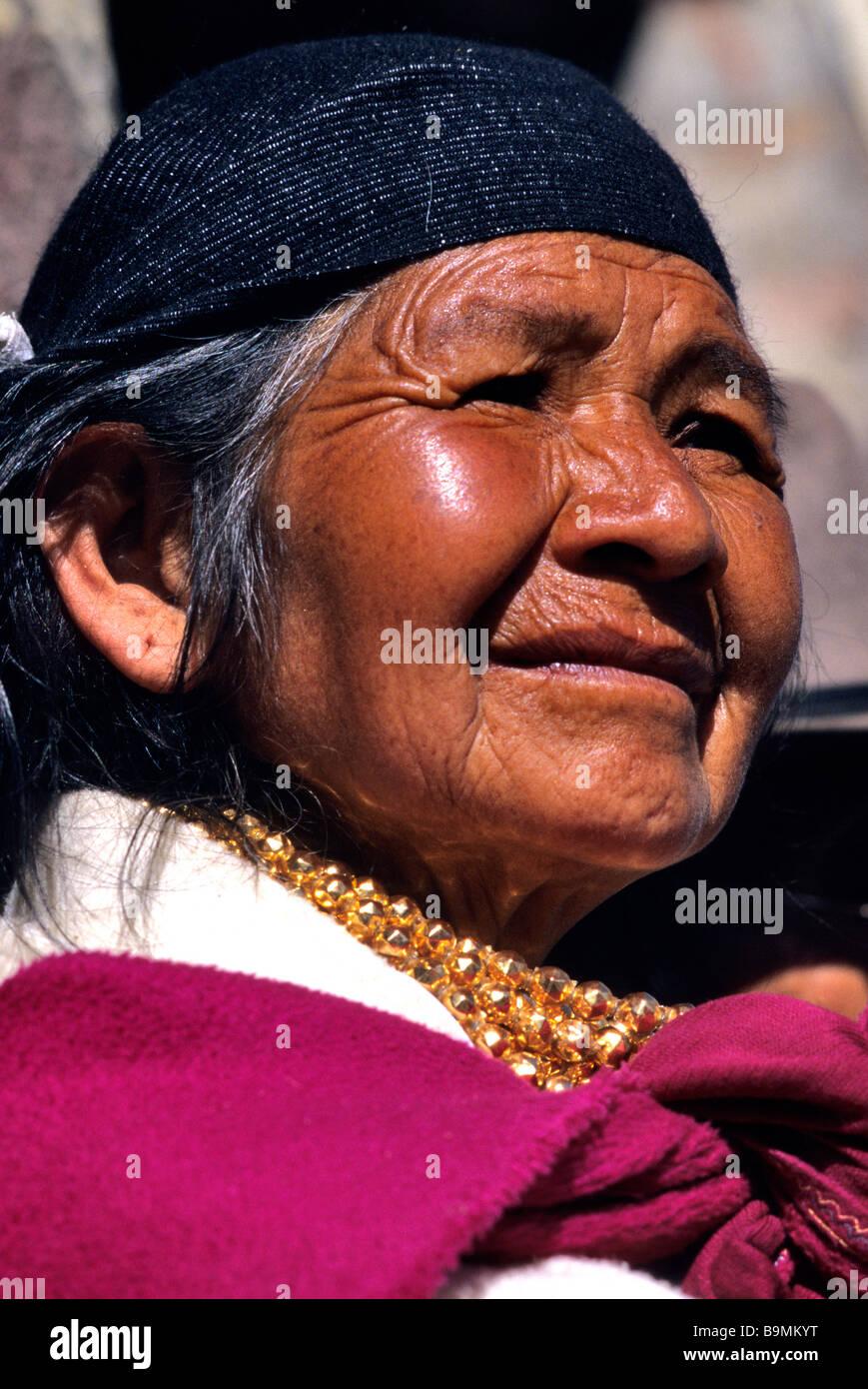 Ecuador, Imbabura province, Cotacachi, portrait of an Otavalo Indian woman Stock Photo