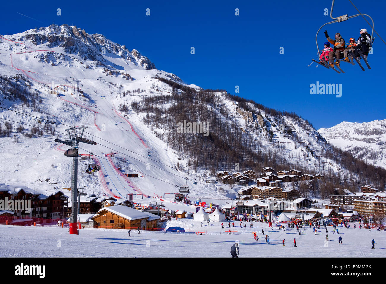 France, Savoie, Val d'Isere, criterium trace, Men's Events of the Alpine World Championships Combined on - Stock Image