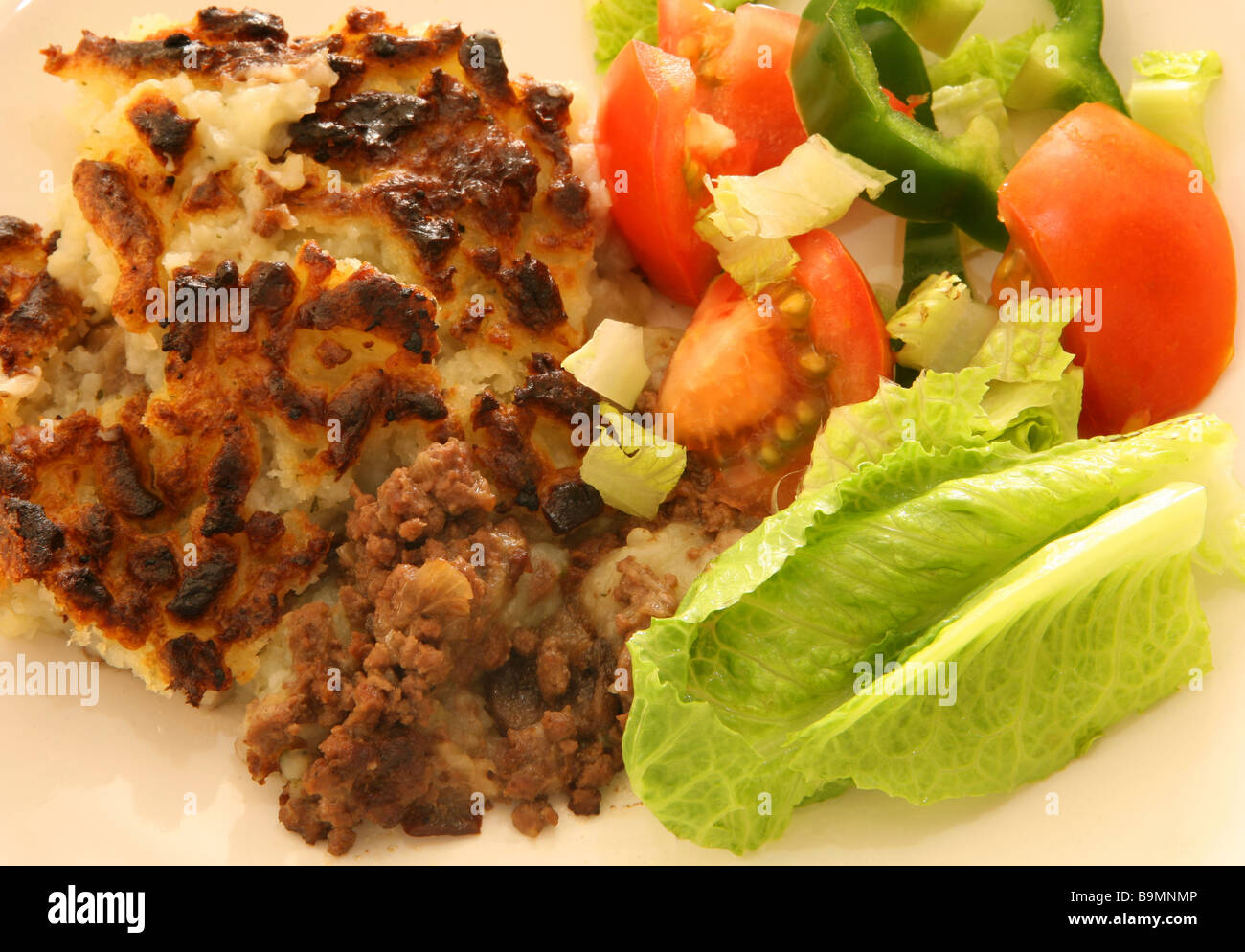 Shepherd's pie and salad,traditional British home-cooking. - Stock Image