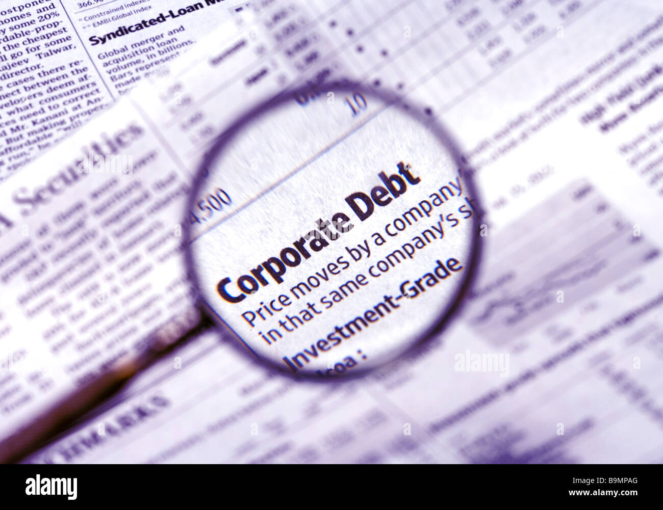 Focus on corporate debt. - Stock Image