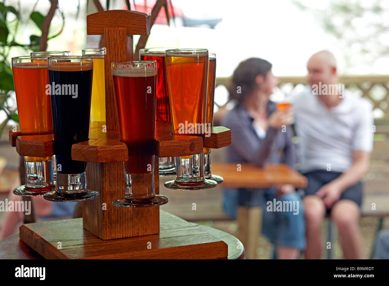 Canada, Quebec Province, Quebec City, Saint-Roch district, la Barberie bar, Biers tasting - Stock Image