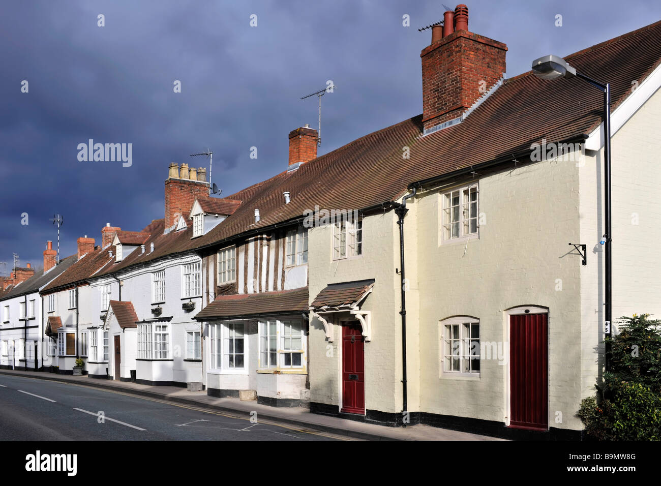 the high street henley in arden village warwickshire england uk - Stock Image