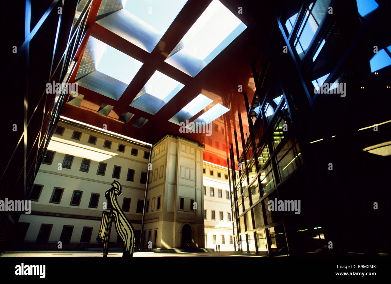 Spain, Madrid, the Reina Sophia Museum, triangular extension to the back of the first building by French architect - Stock Image