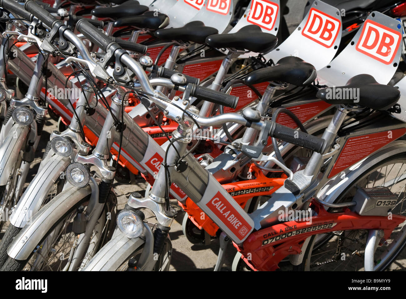 Publicly available bicycles for hire Munich Germany - Stock Image