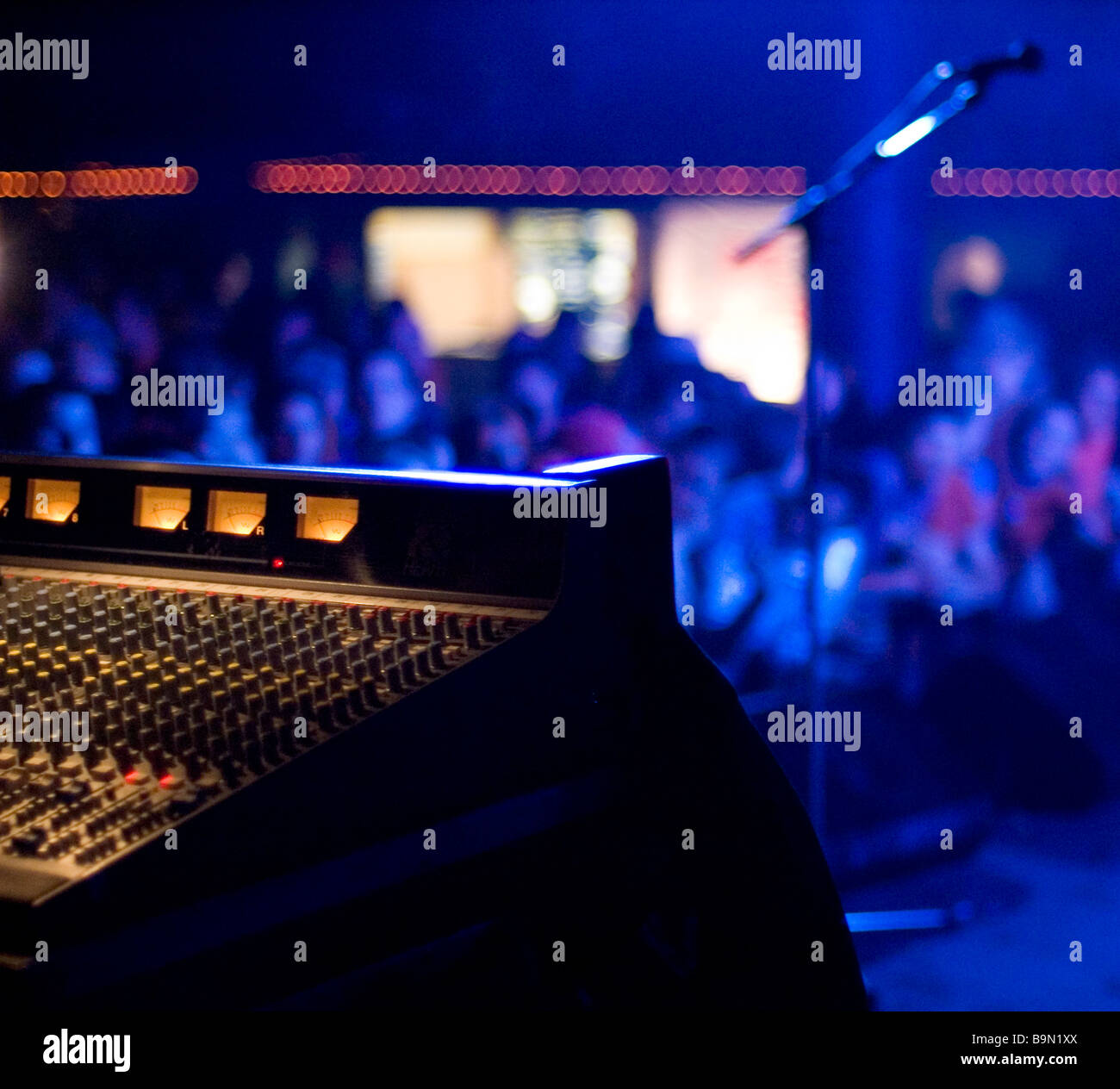 Mixing desk at live gig - Stock Image