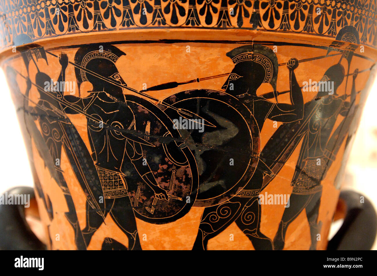 Greece, Attica, Athens, National Archaeological Museum, detail of a krater, vase, 530 BC, Homeric battle - Stock Image