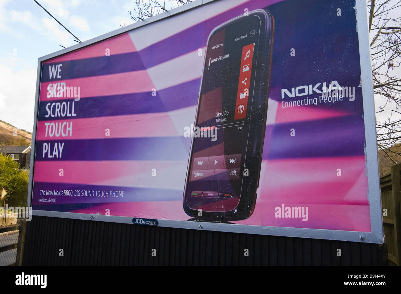 JCDecaux advertising billboard for Nokia mobile phone at Blaina in South Wales Valleys UK - Stock Image