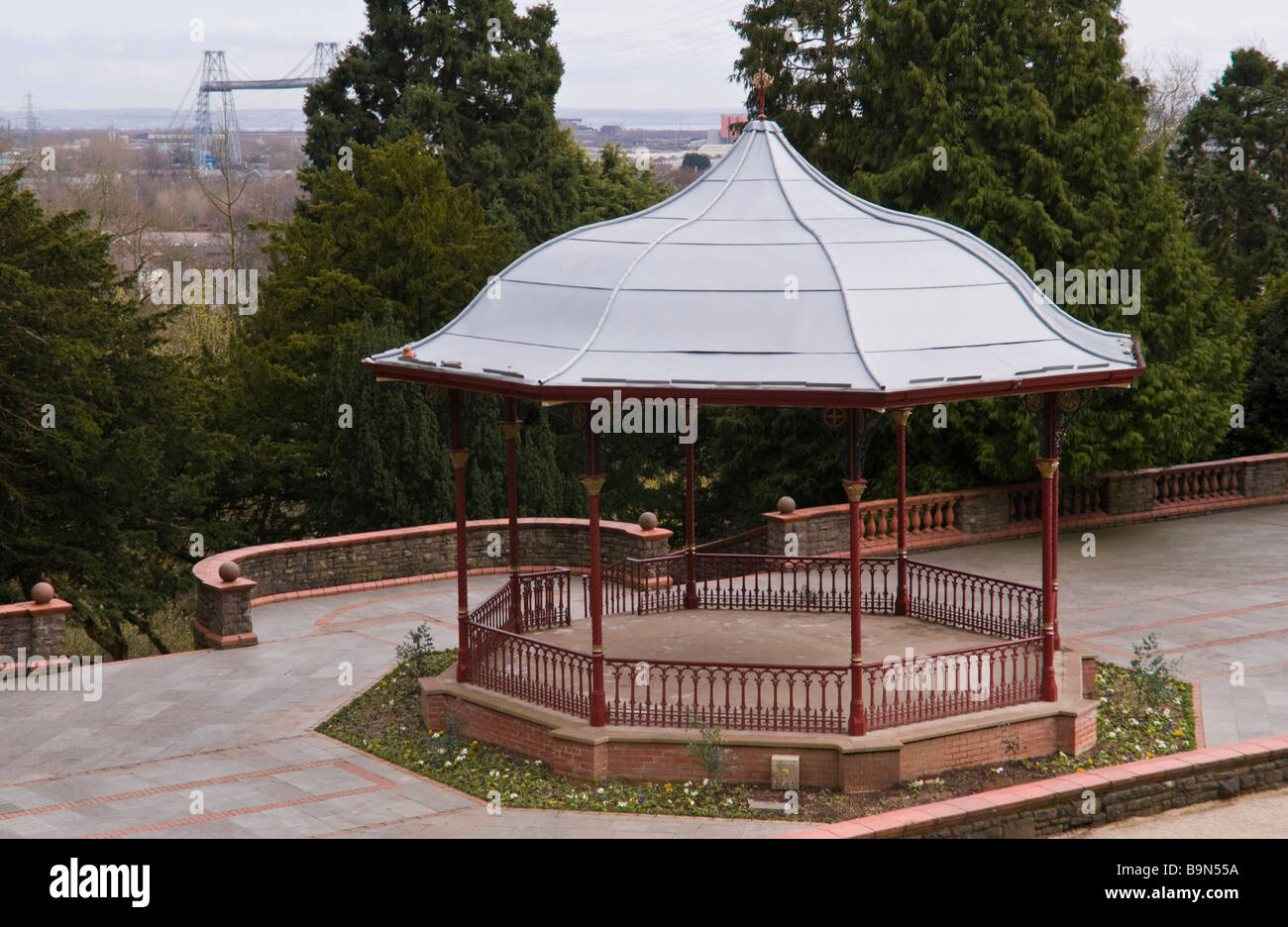 Bandstand in Belle Vue park Victorian public park in Newport South Wales UK - Stock Image