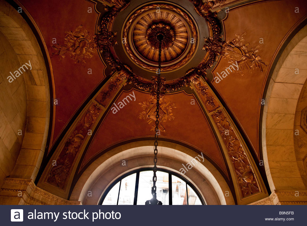 ornate ceiling is the new york library - Stock Image