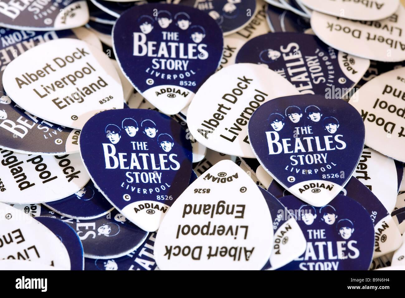 United Kingdom, Liverpool, Albert Dock, The Beatles Story, souvenir shop, plectrums - Stock Image