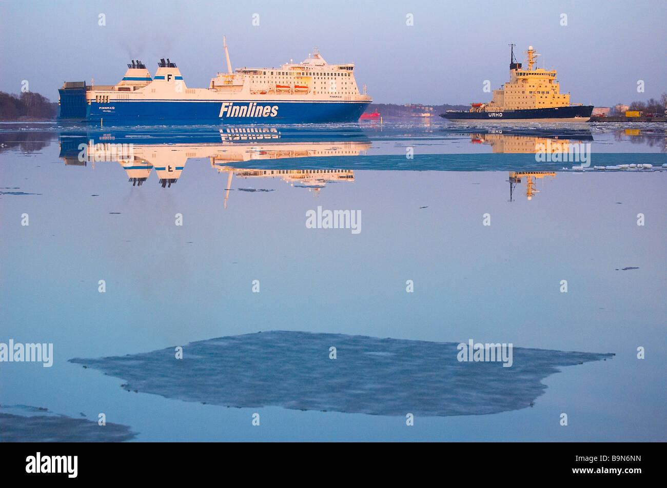 Ferry and icebreaker in Helsinki, Finland. - Stock Image