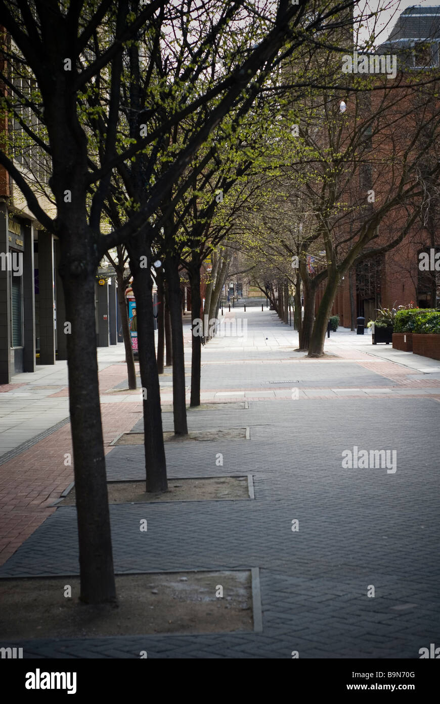 Empty street in Manchester city centre UK - Stock Image