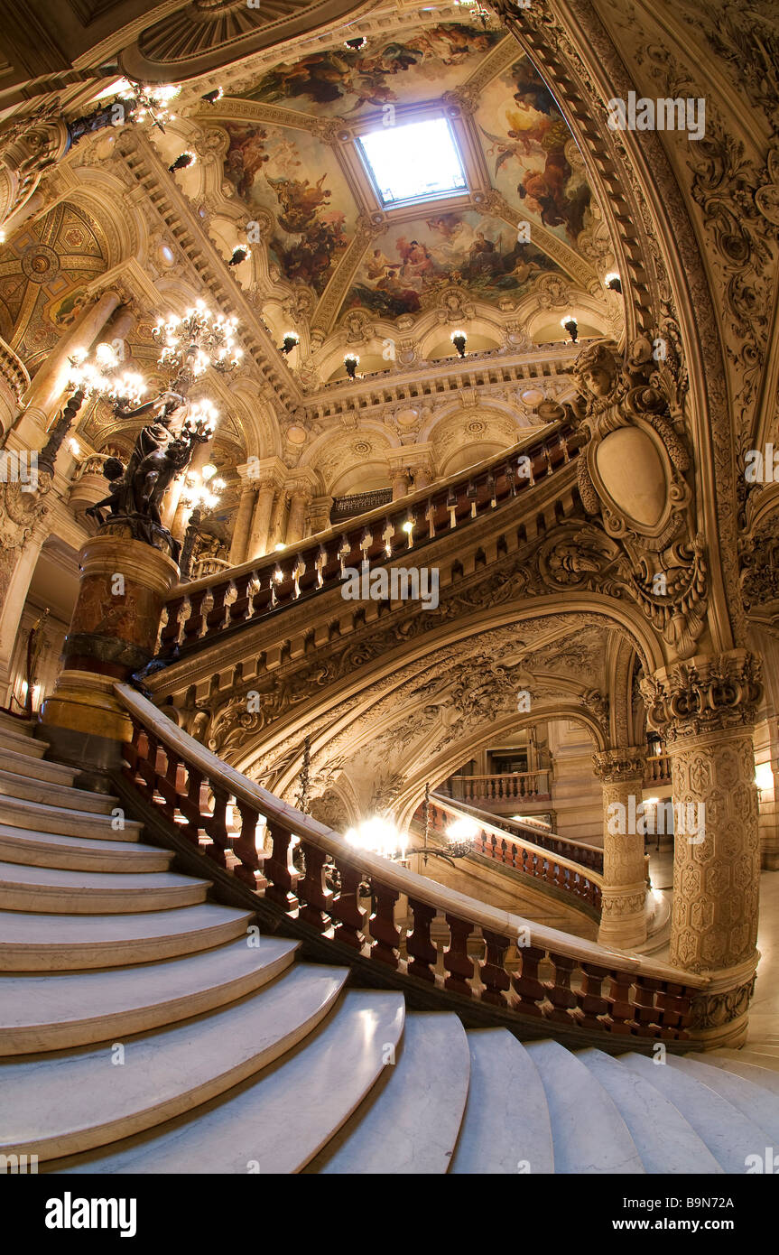 France, Paris, Garnier Opera house, the staircase - Stock Image