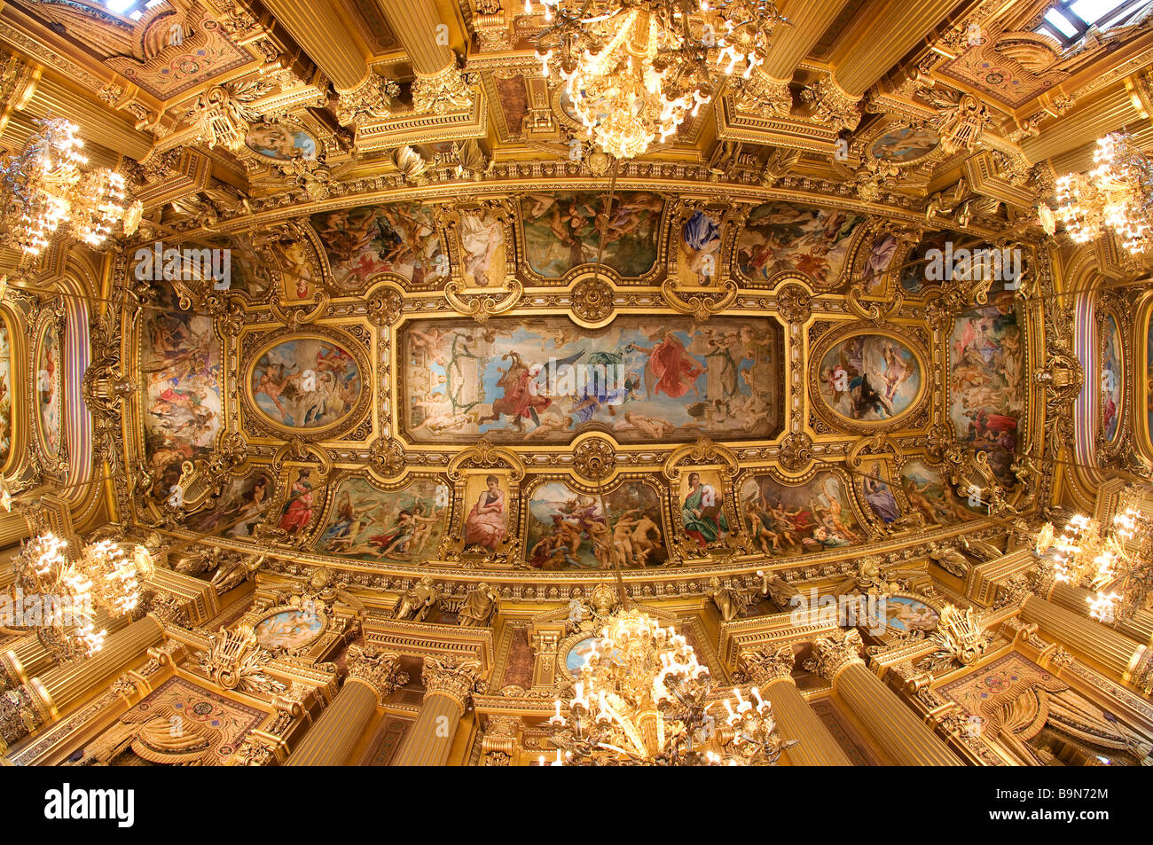 France, Paris, Garnier Opera house, the vault of the main foyer - Stock Image