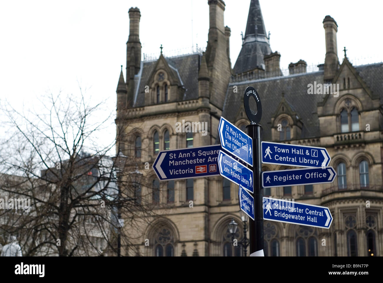 Road signs outside the Town Hall in Albert Square Manchester city centre UK - Stock Image