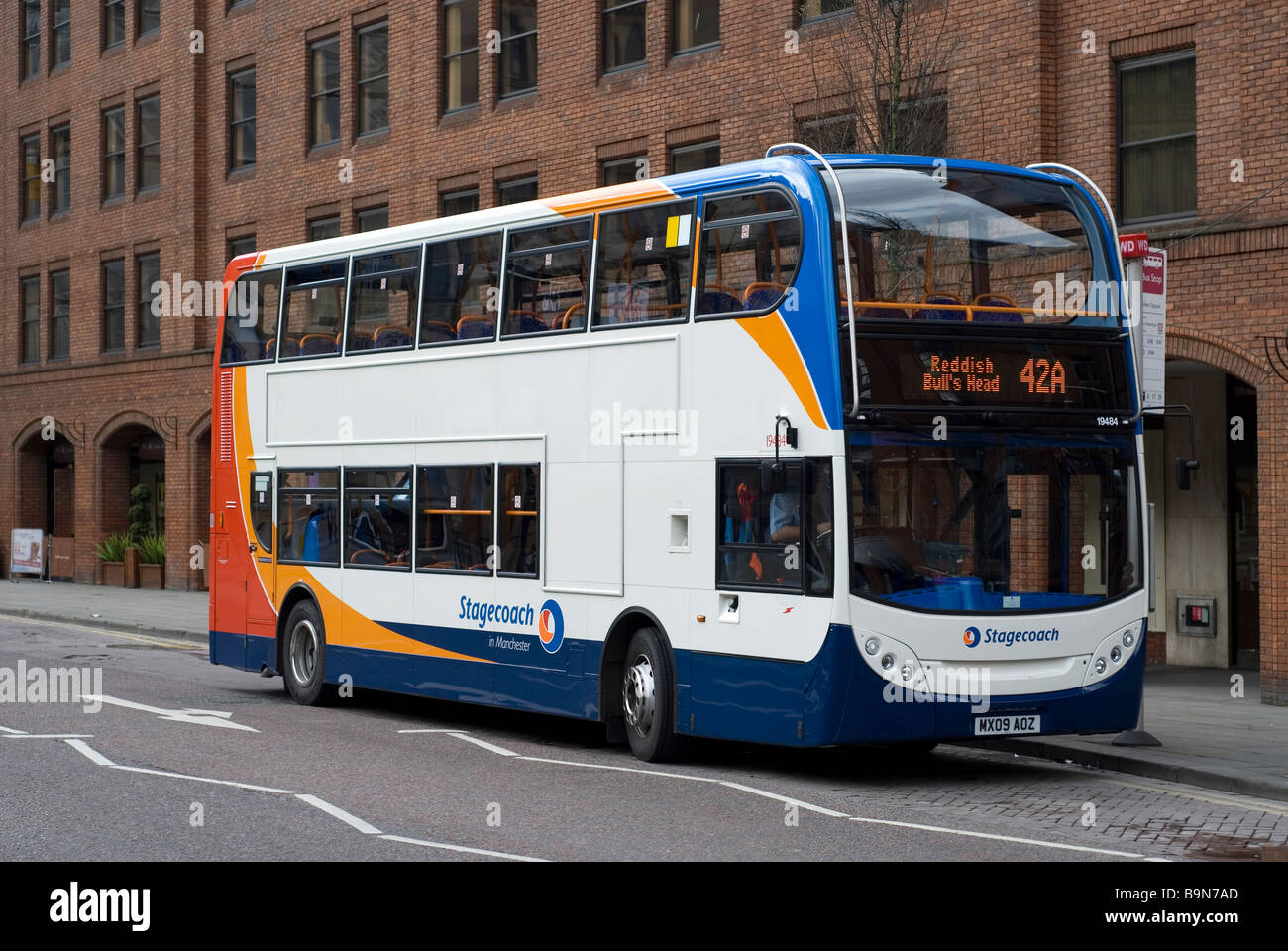 Stagecoach double decker bus by bus stop in Manchester city centre UK - Stock Image