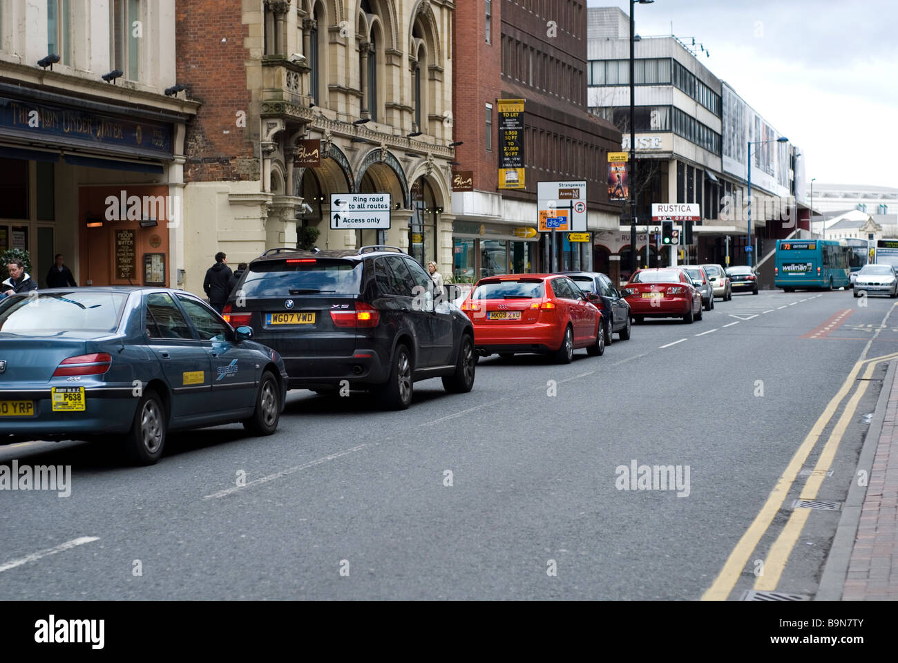 Traffic on Deansgate Manchester city centre UK - Stock Image