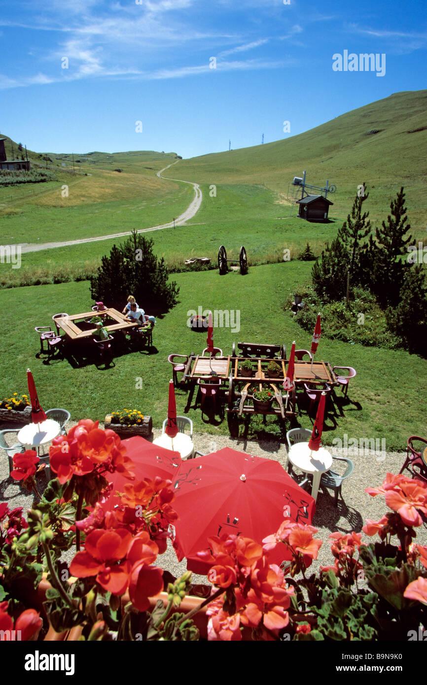 France, Drome, Fond d'Urle ski resort in Summer, Les Dryades hotel and restaurant - Stock Image