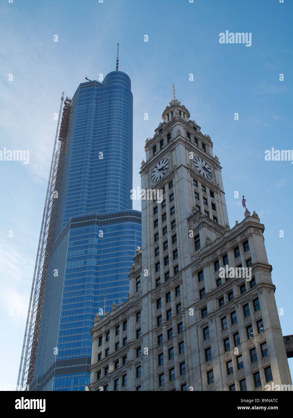 Wrigley Building and Trump International Hotel and Tower Chicago Illinois - Stock Image