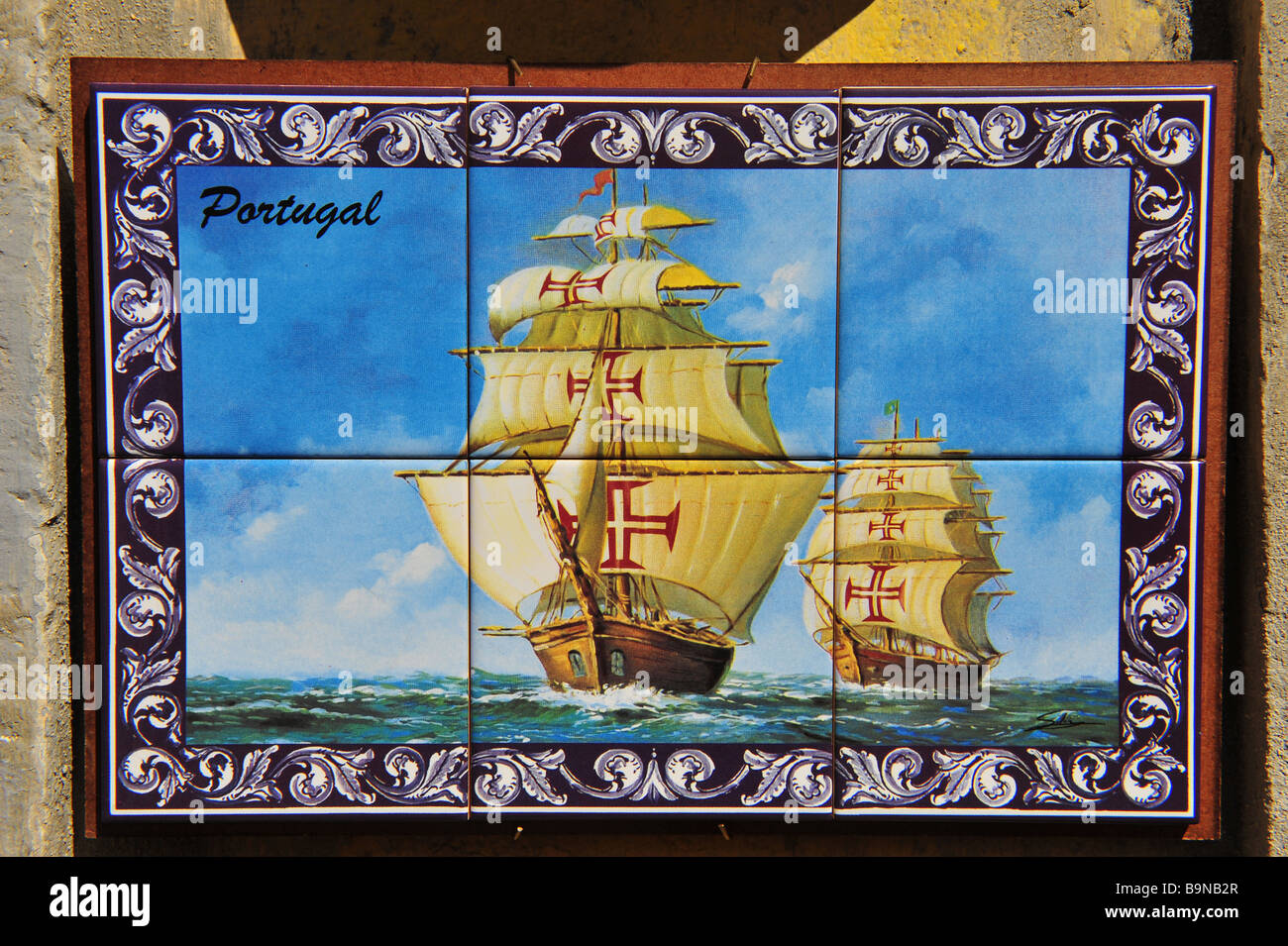 Ceramic tile picture for sale on the Algarve in Portugal Stock Photo ...