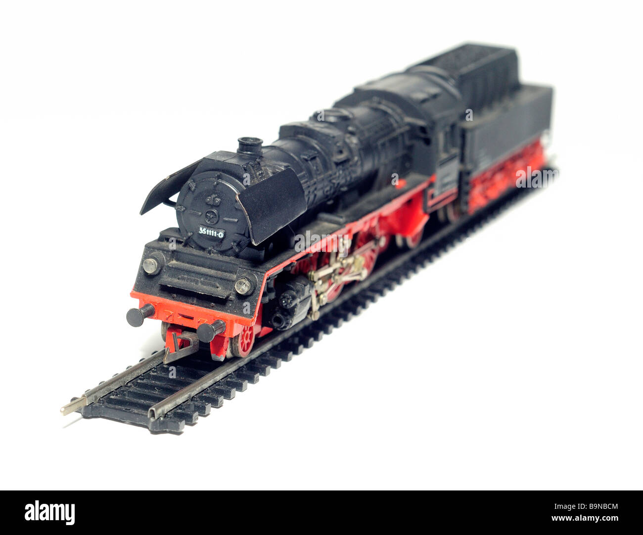 Steam locomotive engine and trains model railway cut out still life detail - Stock Image