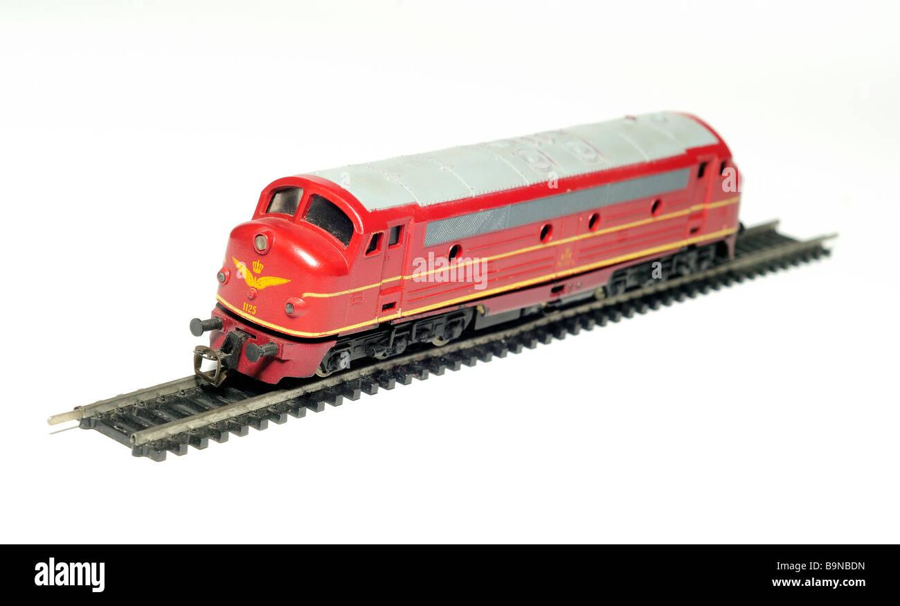 diesel locomotive engine model railway cut out still life detail - Stock Image