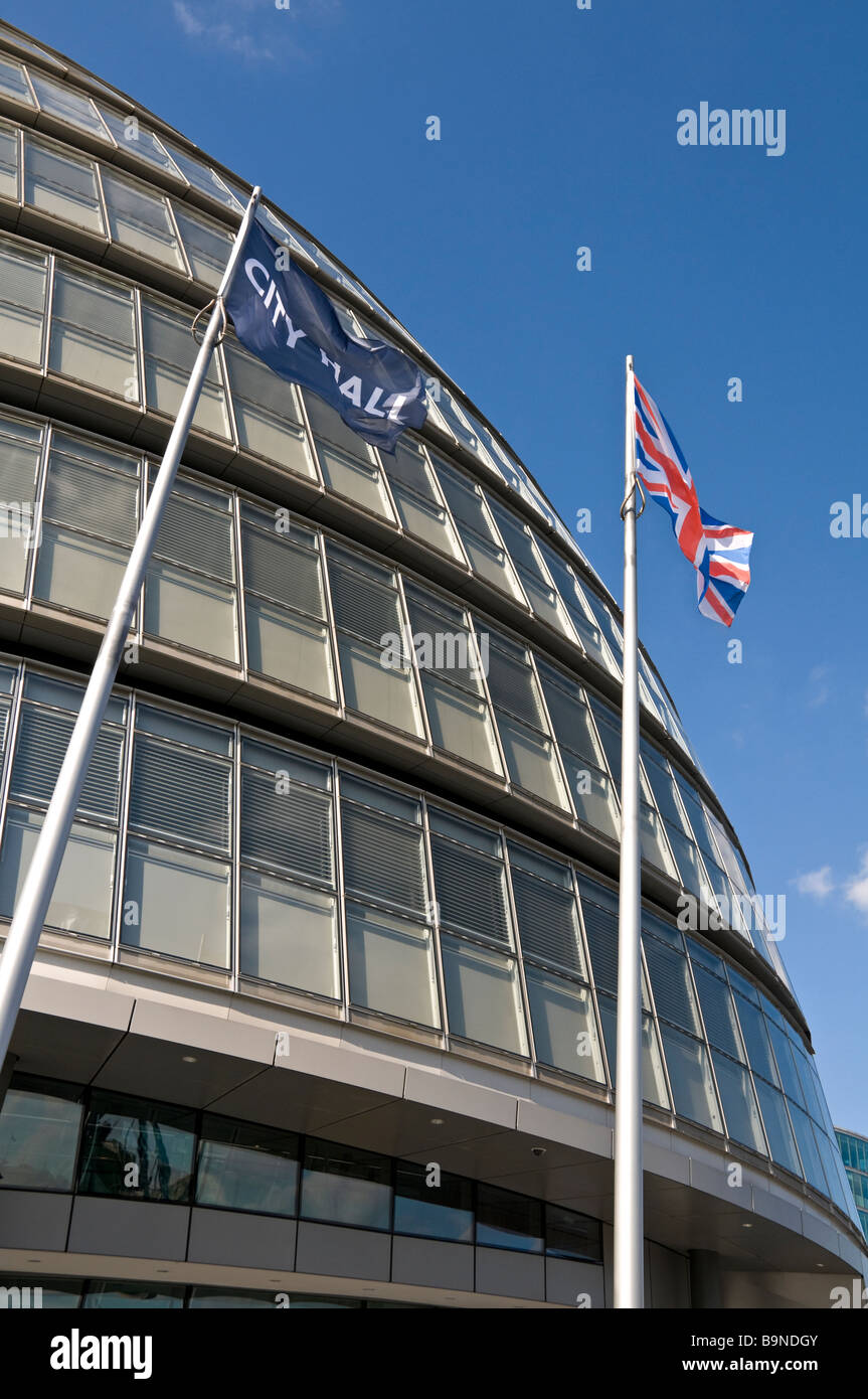 Flags outside City Hall London Assembly Building - Stock Image