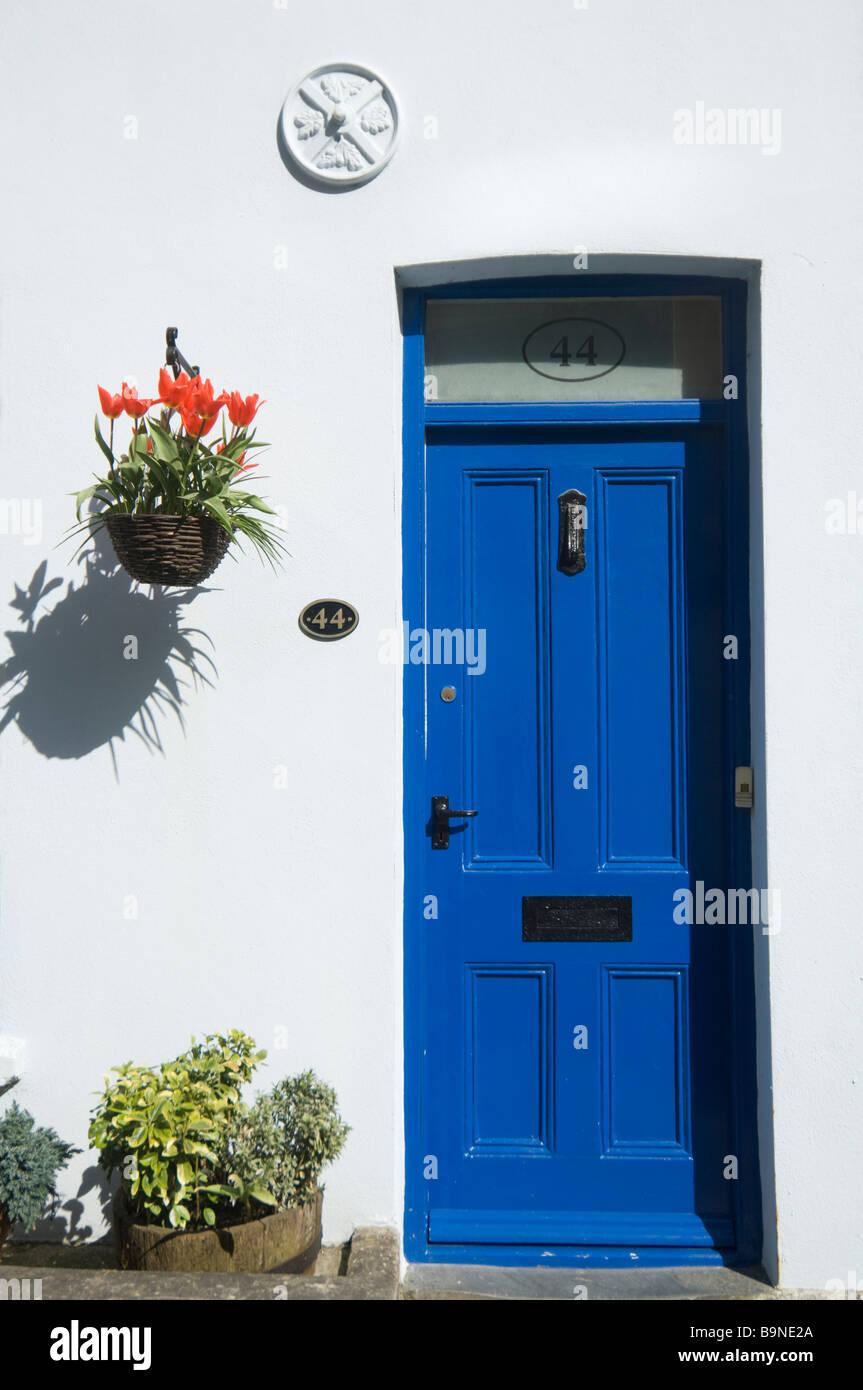 Blue Cottage Door Fowey Cornwall UK - Stock Image & Front Door Cottage Cornwall Stock Photos \u0026 Front Door Cottage ...