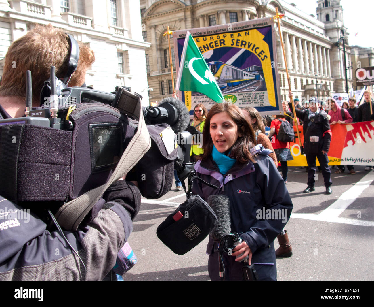Media reporting on G20 protest march in central London, 28/03/09 - Stock Image