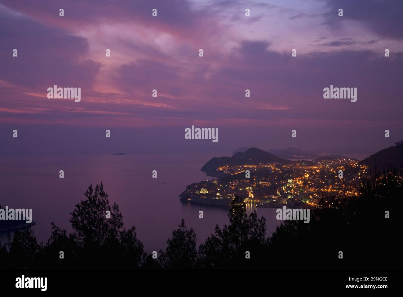 Evening dusk on Dubrovnik town and Adriatic Sea Dalmation Coast Croatia Europe - Stock Image