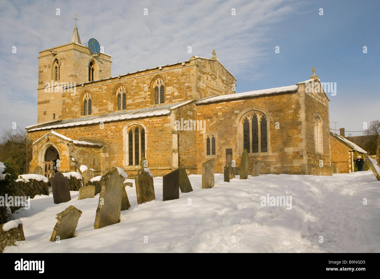 England Rutland Braunston church under snow - Stock Image