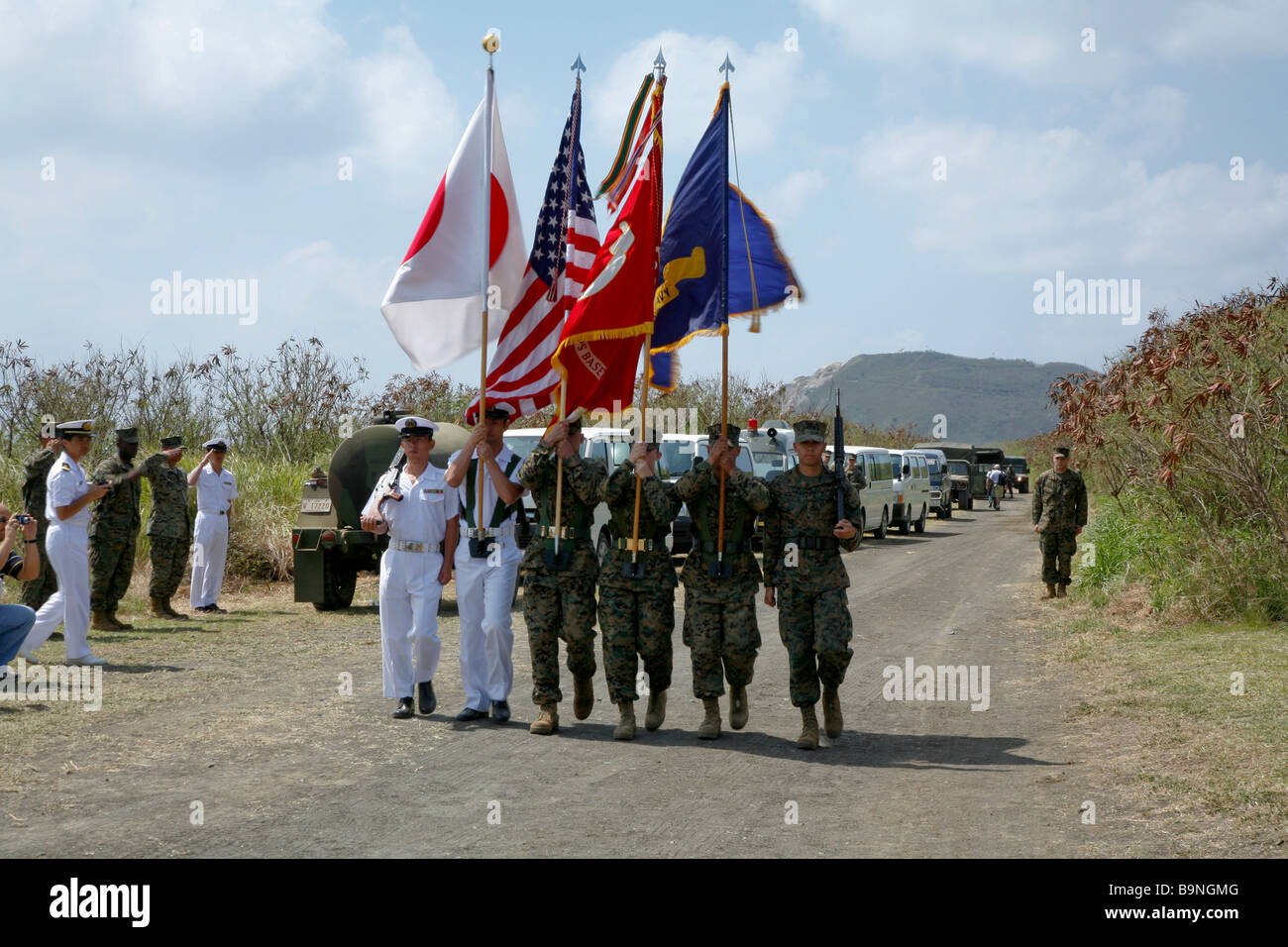 Joint Japanese And American Color Guard At The Reunion Of Honor Ceremony On Iwo Jima With