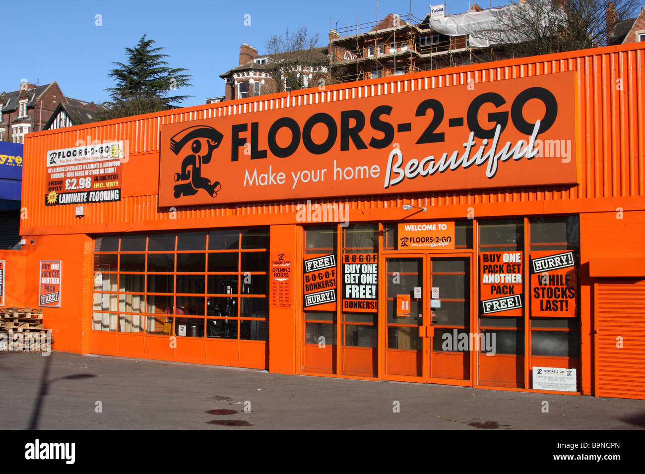 Floors-2-Go retail outlet in a U.K. city. - Stock Image