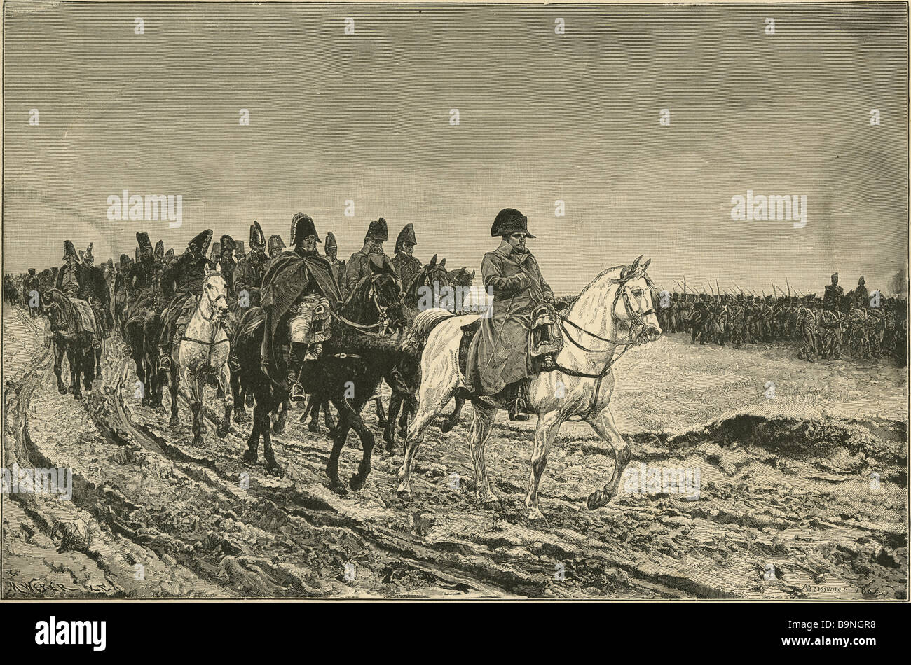 Napoleon's Retreat of the Grand Army from Russia, painted by Meissonier in 1861. Engraving by M Weber. - Stock Image