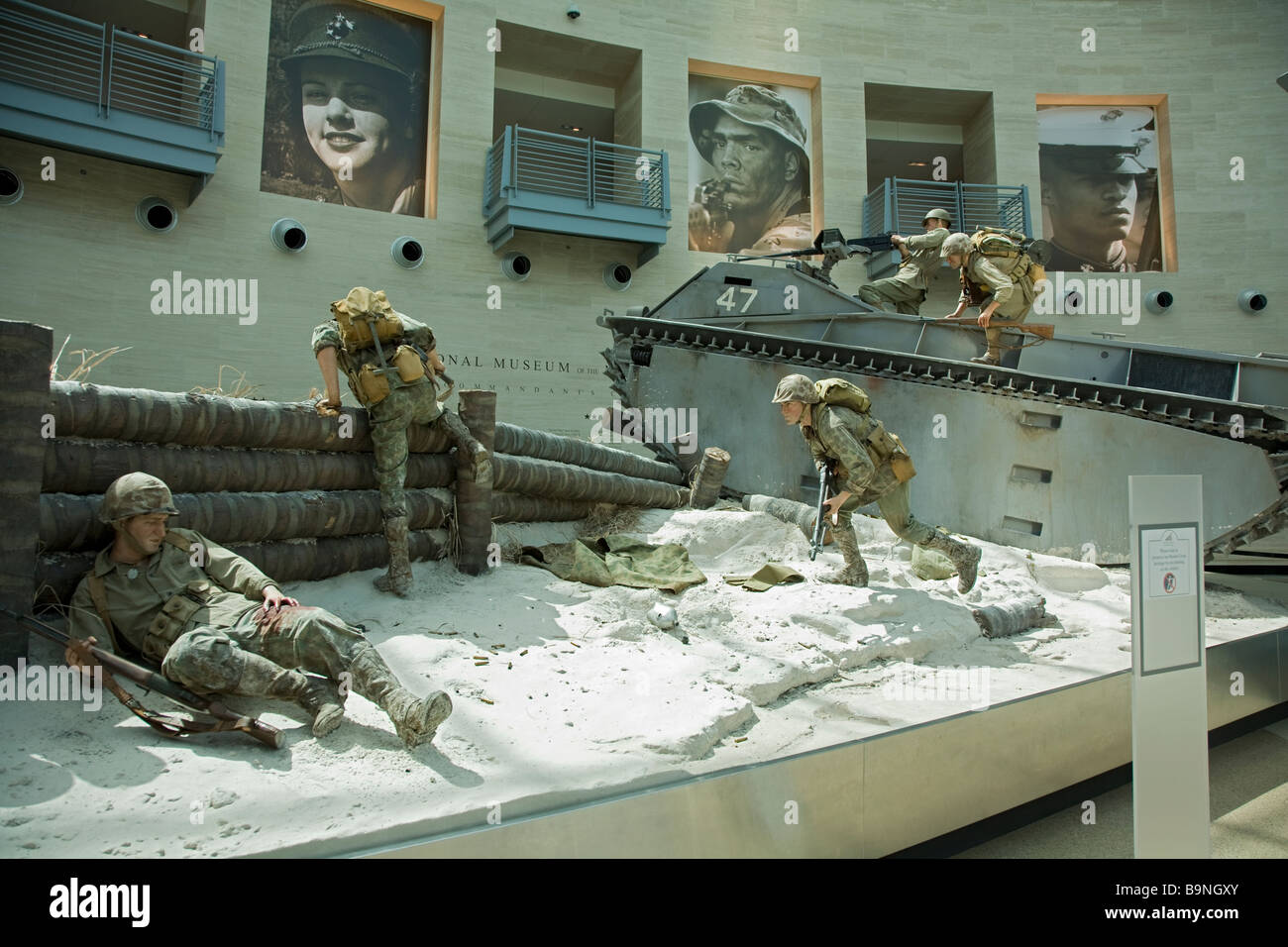 World War II Over the reef at Tarawa display at the Marine Corps National Museum in Quantico VA - Stock Image