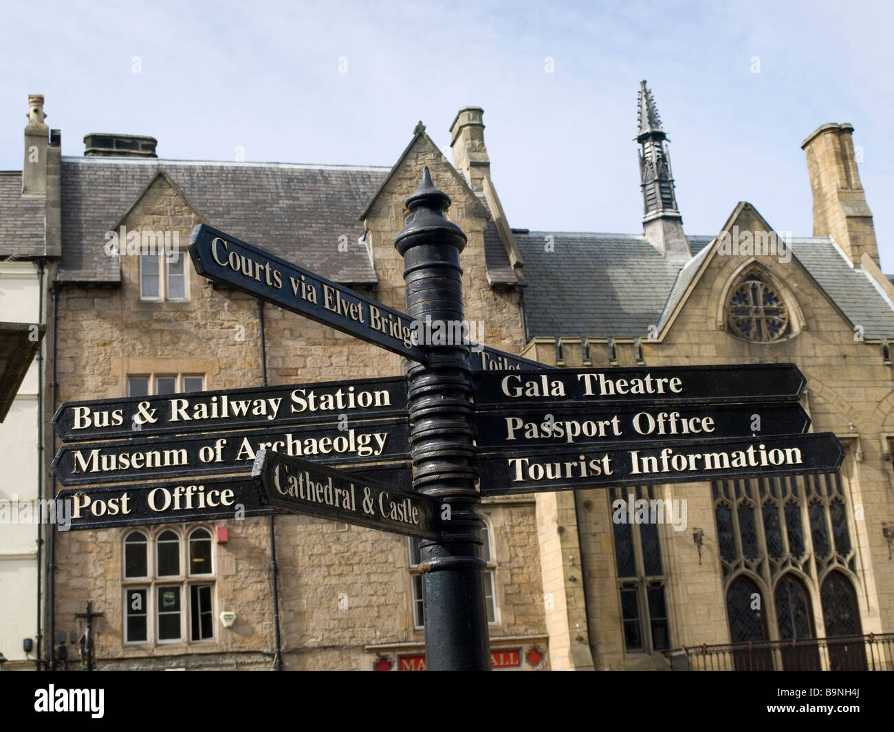 Sign Post In Durham City Market Place Showing Directions To The