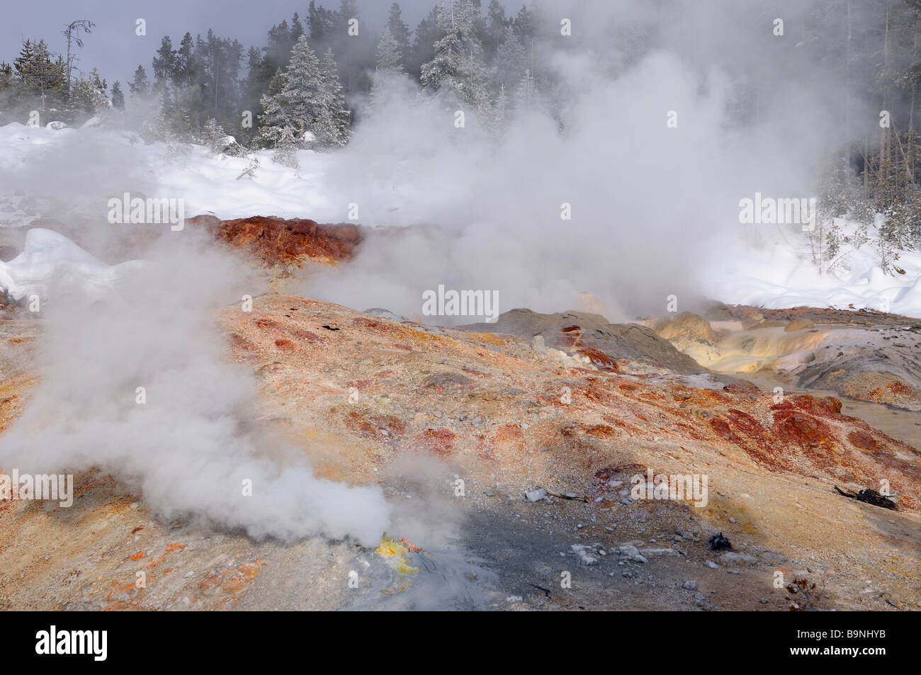 Hot steam in winter from Steamboat Geyser and fumarole in Norris Geyser Basin Yellowstone Park Stock Photo
