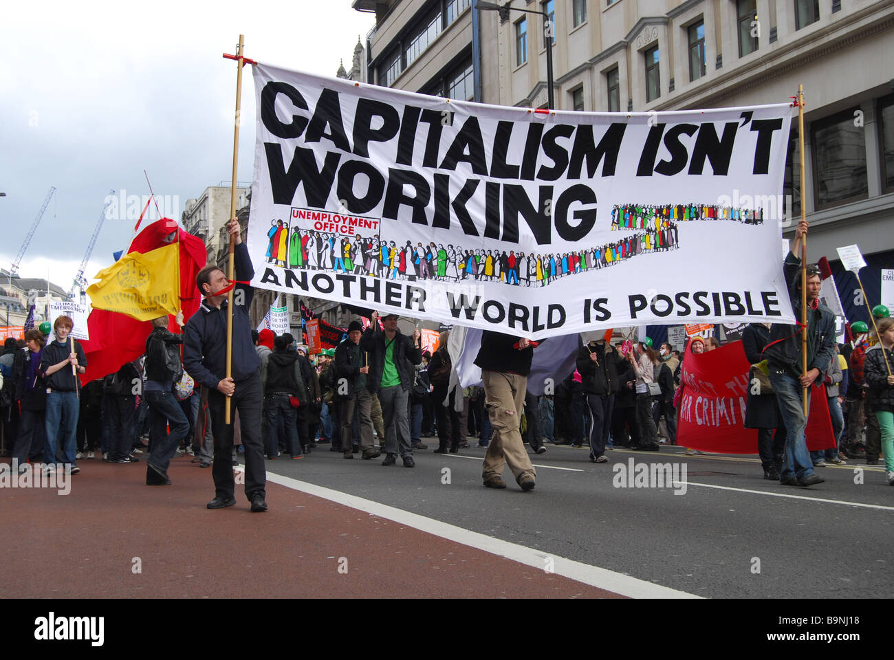 Anti capitalist G20 Protest March London 2009 - Stock Image