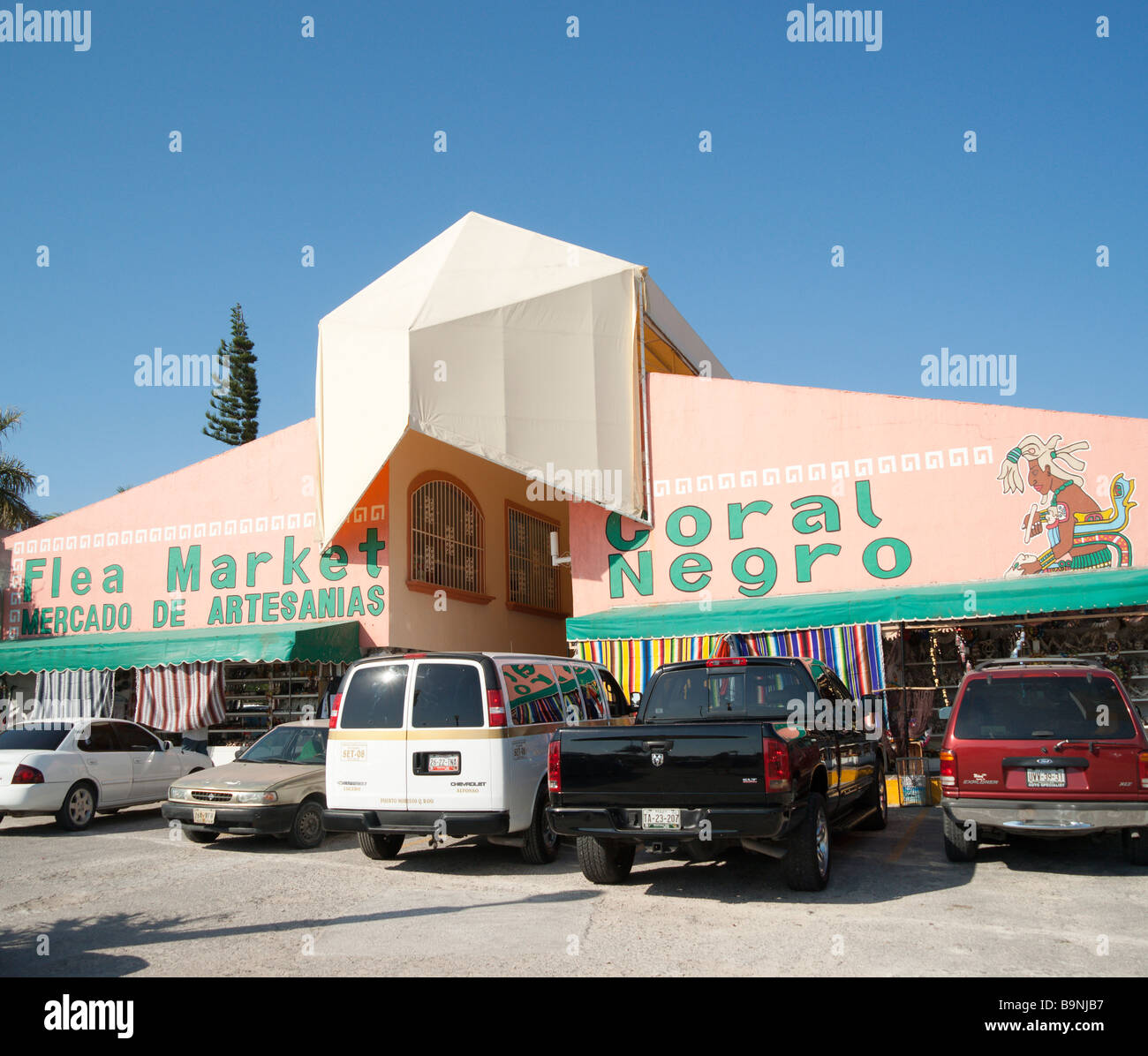 Mexico Yucatan - Cancun zona hotelara or hotel zone main centre near the Forum shopping mall the fleamarket Stock Photo