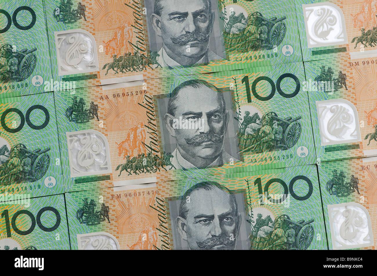 Australian one hundred dollar notes - Stock Image
