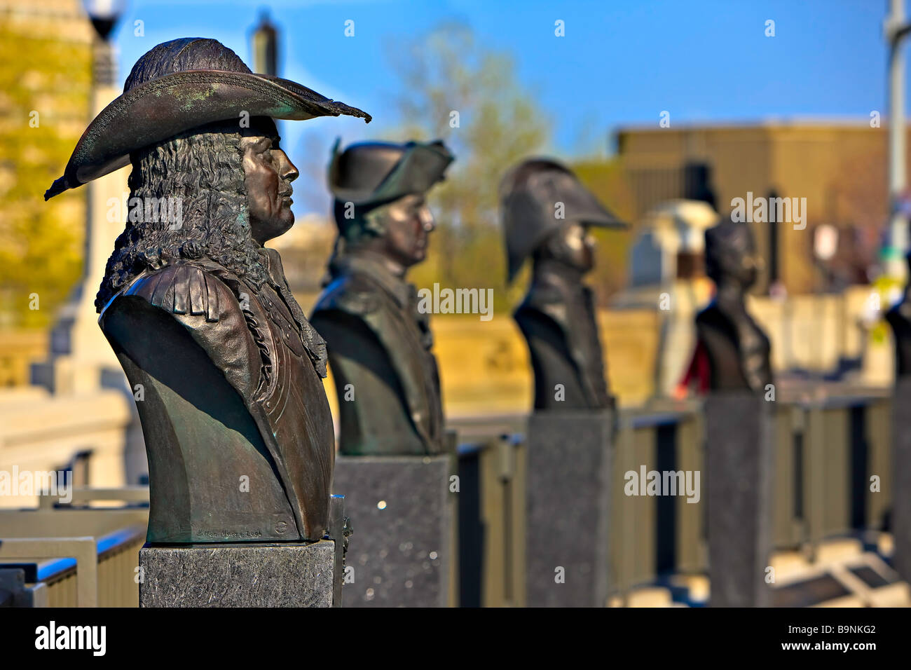 The Valiants Memorial. Busts depicting individuals who served Canada during the wars which fundamentally shaped - Stock Image