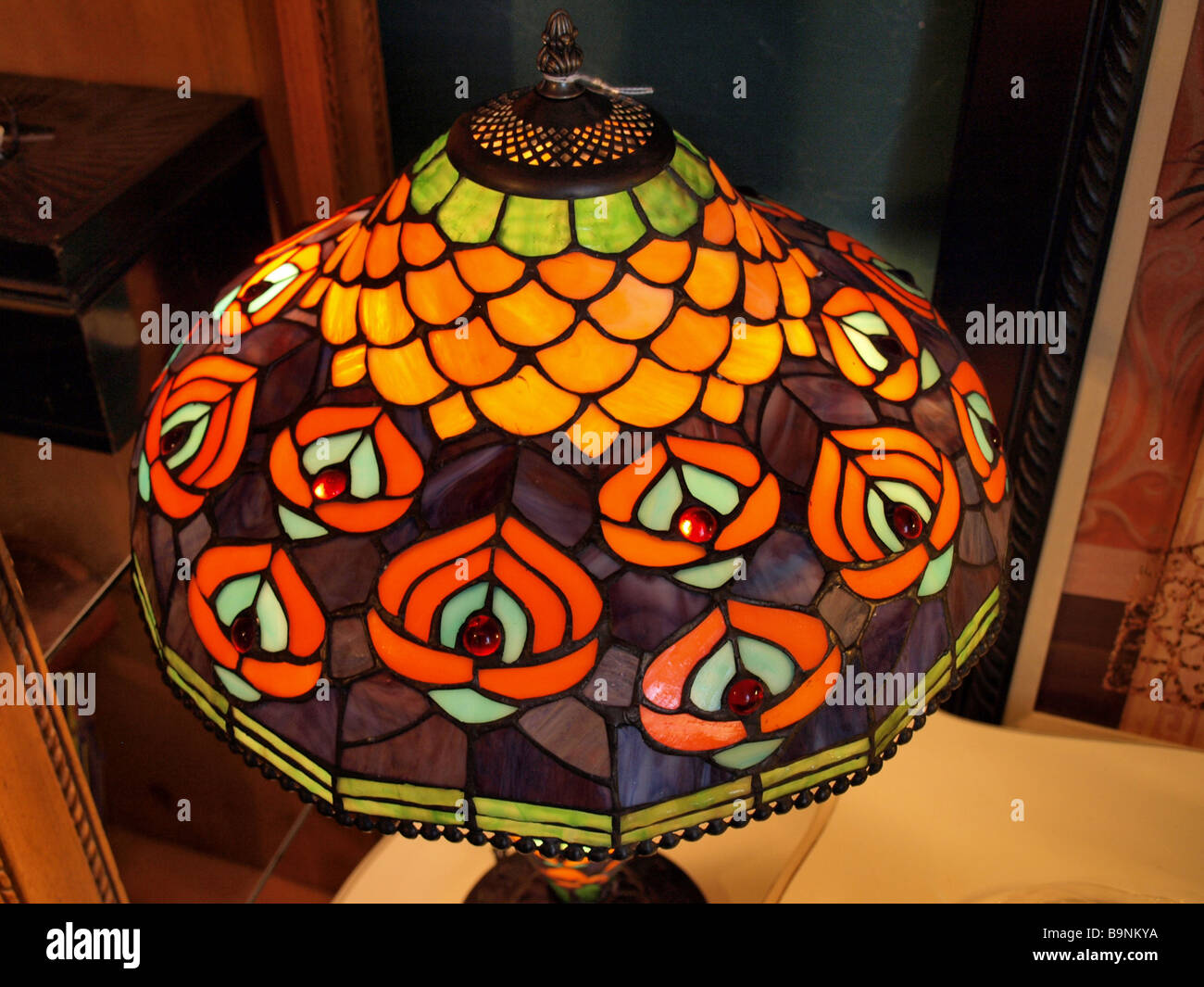 Art Deco Style Stained Glass Lamp Shade From Above With