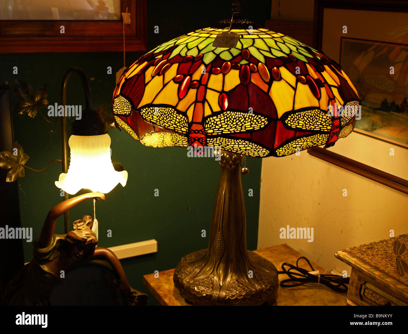 Stained Glass Lamp Shade In Art Deco Style With Greens And