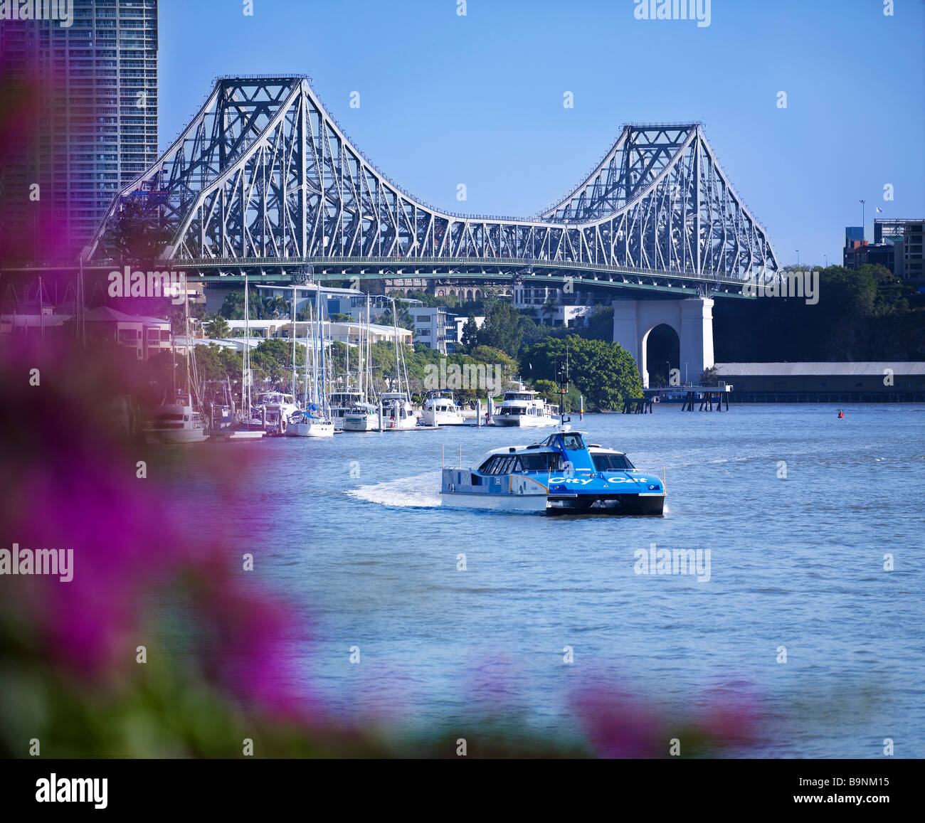 Brisbane Story Bridge & Citycat ferry Queensland Australia - Stock Image