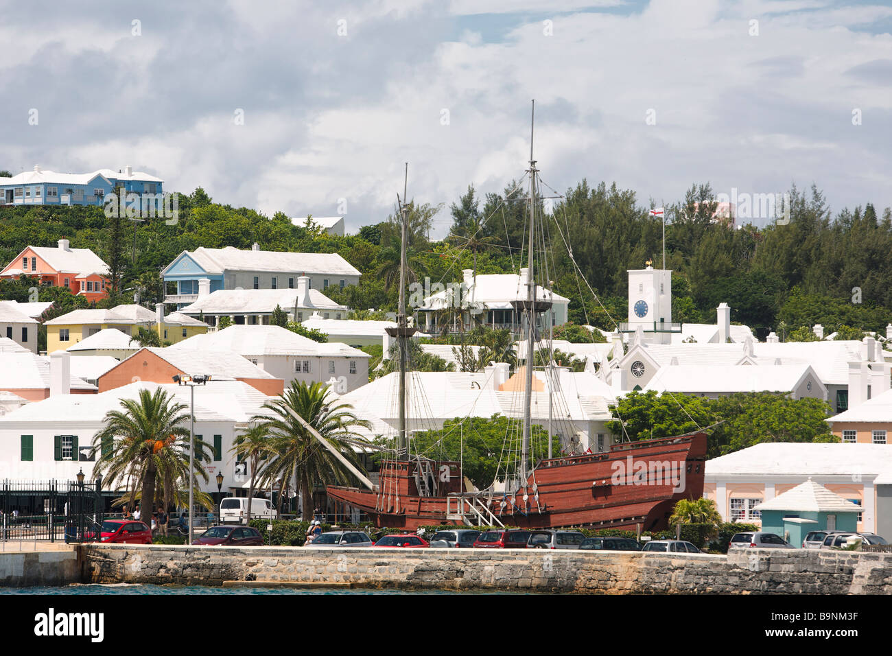 View of The Houses of St George from The Harbor Bermuda - Stock Image
