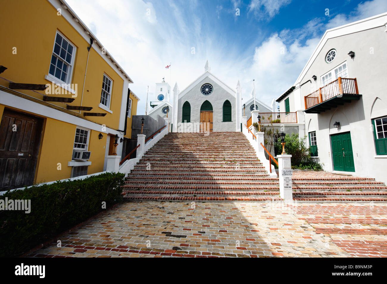 Steps Leading Up To a Church St Peter s Church St George Bermuda - Stock Image