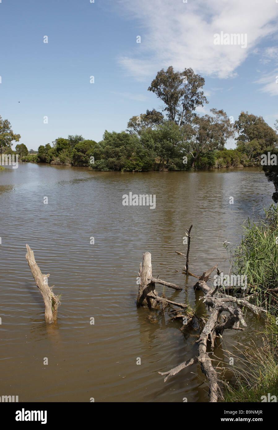 Confluence of the Latrobe River, left, and Thompson River, right, Sale, Gippsland, Victoria, Australia - Stock Image
