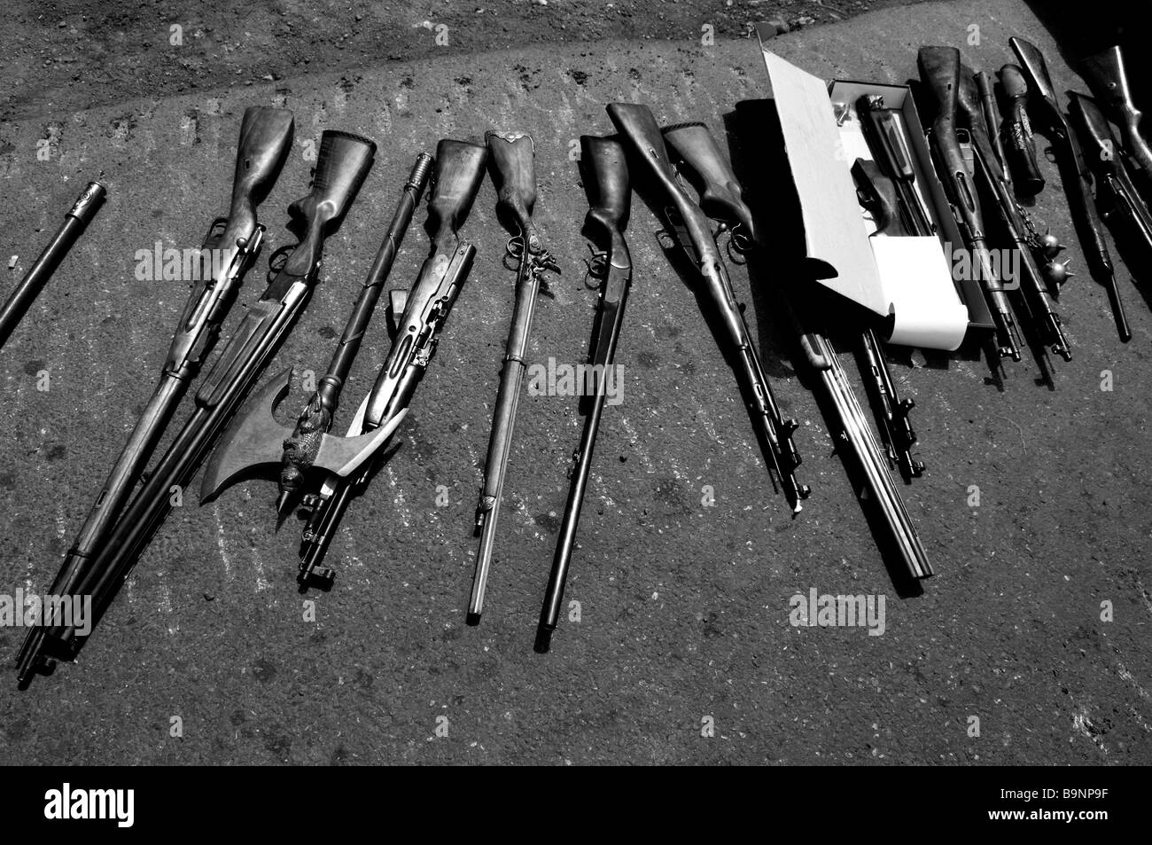 Collection of rifles captured by Russian forces after entering the city of Gori during the Russo-Georgian War August - Stock Image