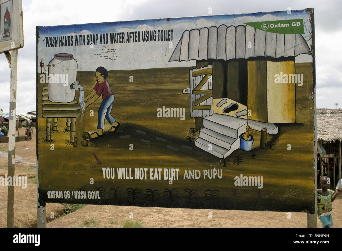 A health/hygiene education poster at a UN camp for refugees, Monrovia, Liberia - Stock Image